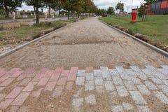 砖道路建筑 免版税库存图片
