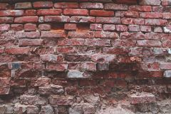 砖grunge红色墙壁 免版税图库摄影