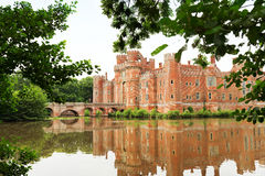 砖Herstmonceux城堡在英国东萨塞克斯郡15世纪 免版税库存照片