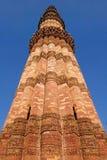 砖minar尖塔qutub最高的世界 库存照片