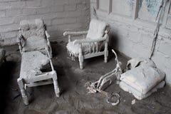 破坏房子火山 免版税库存照片
