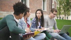 破擦声 一起做家庭作业的白种人和亚裔大学生 股票视频
