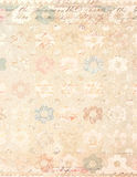 破旧的别致的与脚本的葡萄酒花卉背景 库存图片