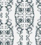 破旧的摘要锦缎无缝的传染媒介维多利亚女王时代的样式wallpapper 向量例证