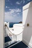 破火山口门开放santorini通过视图 库存照片