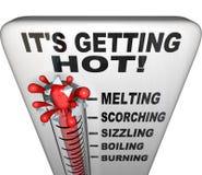 破裂水银上升的温度计 免版税库存照片