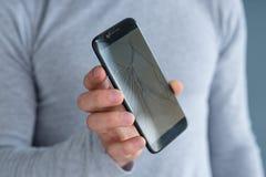 破裂的屏幕移动设备电话修理 免版税库存照片