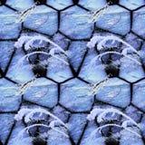 破裂的石头和冻植物的冬天无缝的马赛克样式 库存照片
