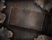 破裂的grunge金属片模板 免版税库存照片