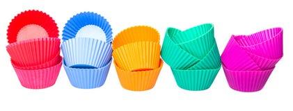 硅树脂杯形蛋糕烘烤的杯行VII 库存图片