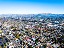 硅谷空中照片在加利福尼亚 库存图片