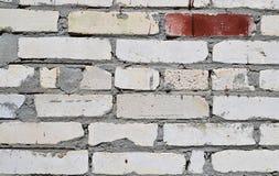 硅酸盐砖墙特写镜头背景  白色或灰色 在红色油漆的一块砖 图库摄影