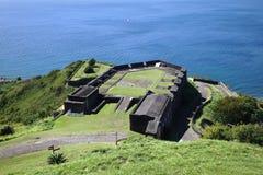 硫磺小山堡垒在圣基茨岛 库存图片