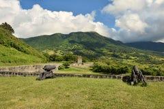 硫磺小山的老堡垒在圣基茨希尔 免版税库存图片