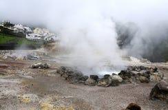 硫磺火山的蒸汽  库存图片