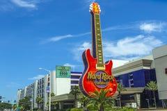 硬岩赌博娱乐场吉他象征  免版税图库摄影