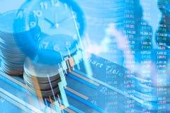 硬币两次曝光和图表财政投资策略的 免版税库存图片