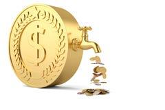 硬币从在白色backgroun和大硬币落隔绝的轻拍 库存例证