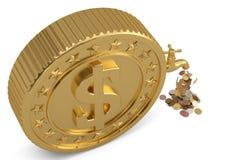 硬币从在白色backgroun和大硬币落隔绝的轻拍 皇族释放例证