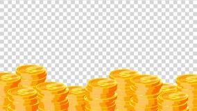 硬币传染媒介 金美元coins.3D回报 财务堆,美元硬币堆 金黄货币 隔绝在透明背景舱内甲板 库存例证
