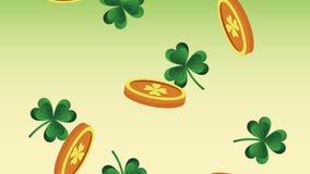 硬币和三叶草下跌的HD动画 皇族释放例证