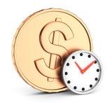 硬币和时钟 库存图片