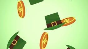 硬币和矮子帽子下跌的HD动画 皇族释放例证