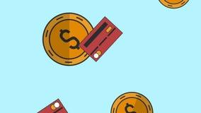 硬币和跌倒的信用卡HD动画 向量例证