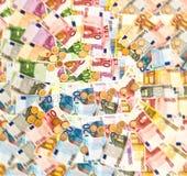 硬币和钞票。欧洲货币背景 库存图片