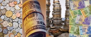 硬币和钞票-国际货币 库存照片