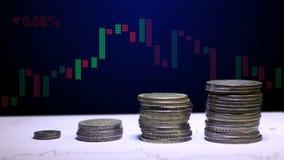 硬币图表和行财务和企业概念的 影视素材