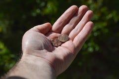 硬币在手中 免版税库存照片