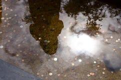 硬币在水中 免版税库存照片