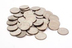 硬币堆射击了我们 库存照片