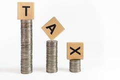 硬币堆积税 库存照片