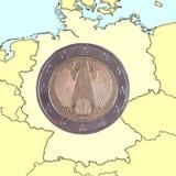 硬币德国映射 库存图片