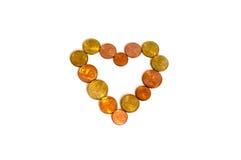 硬币心脏金钱 库存图片