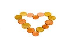 硬币心脏金钱 免版税库存图片