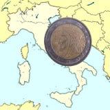 硬币意大利映射 免版税库存照片