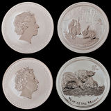 硬币拼贴画银 库存照片