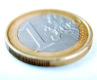 硬币欧元一白色 免版税图库摄影