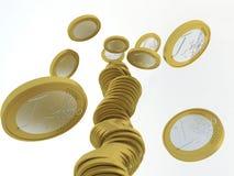 硬币欧元划分为的栈 图库摄影
