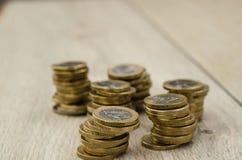 1硬币欧元堆 免版税图库摄影