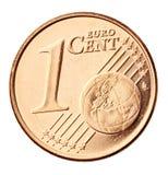 硬币欧元查出的白色 免版税库存图片