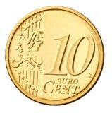 硬币欧元查出的白色 免版税库存照片