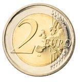 硬币欧元查出的白色 图库摄影