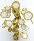 硬币欧元落的栈 库存图片
