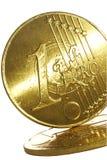 硬币欧元金子 库存图片
