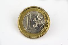 硬币欧洲查出的宏指令一白色 库存照片