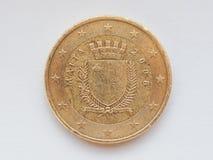 硬币欧洲马尔他 免版税库存图片